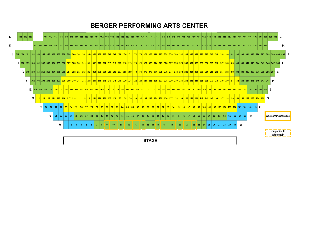 Berger Performing Arts Center Seat Map (price areas subject to change)